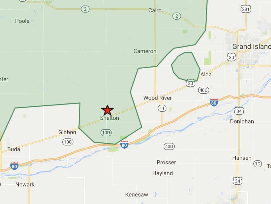 Prairie Hills Wireless Internet Services Coverage Area in Shelton, NE