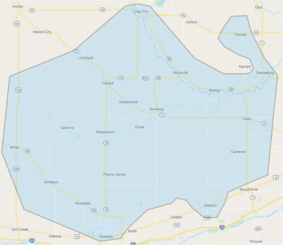 Prairie Hills Wireless Internet Service Coverage Area Map